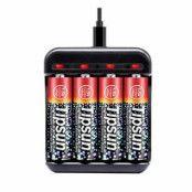 Tipsun 1.5V AA Uppladdningsbara Lithium-ion kit inkl. laddare&4 batterier