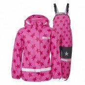 drop rain set jr, pink/dk pink, 110,  regnkläder