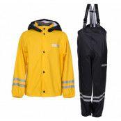 rusk rain set jr, yellow/black, 100,  regnkläder