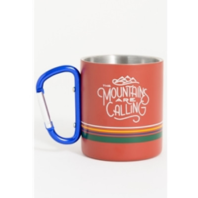 United By Blue Mountains Are Calling 10Oz Stainless Steel Carabiner Cup