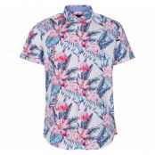 hawaii pink & blue flamingo sh, white, 2xl,  pool flamingo